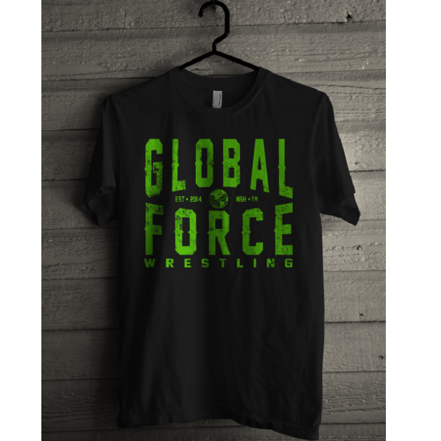 Global Force Wrestling Black Tee- Green Logo