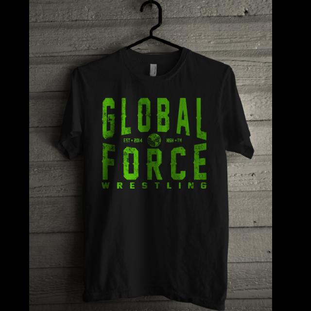 Global Force Wrestling Black Tee- Green Logo