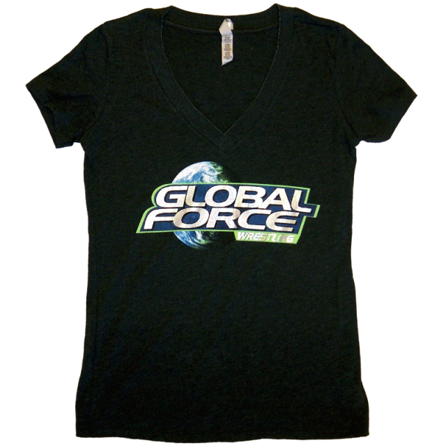 Global Force Wrestling Ladies Heather Black V Neck Tee